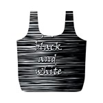 I love black and white Full Print Recycle Bags (M)  Back