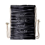 I love black and white Drawstring Bag (Small) Front