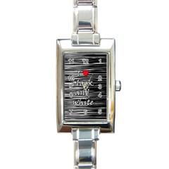 I love black and white 2 Rectangle Italian Charm Watch