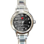 I love black and white 2 Round Italian Charm Watch Front