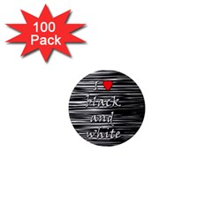 I Love Black And White 2 1  Mini Magnets (100 Pack)