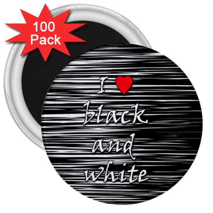 I love black and white 2 3  Magnets (100 pack)