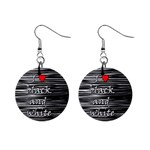 I love black and white 2 Mini Button Earrings Front