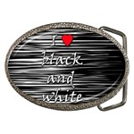 I love black and white 2 Belt Buckles Front