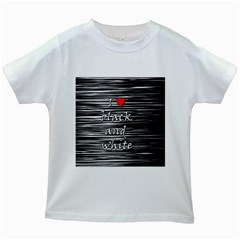 I Love Black And White 2 Kids White T Shirts