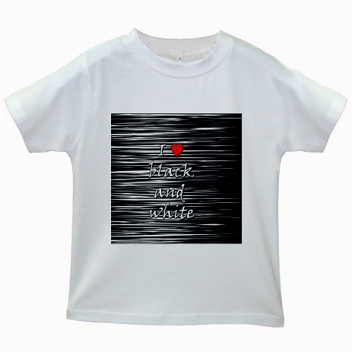I love black and white 2 Kids White T-Shirts