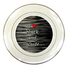 I love black and white 2 Porcelain Plates