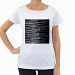 I love black and white 2 Women s Loose-Fit T-Shirt (White) Front