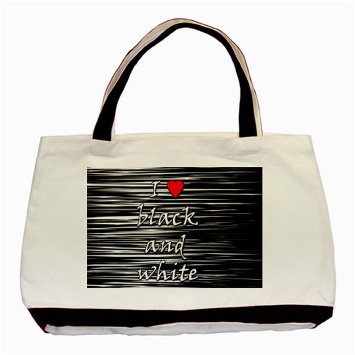 I love black and white 2 Basic Tote Bag