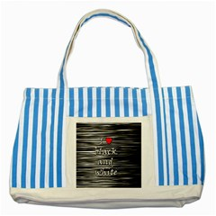 I Love Black And White 2 Striped Blue Tote Bag by Valentinaart