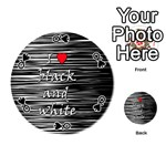 I love black and white 2 Playing Cards 54 (Round)  Front - SpadeQ