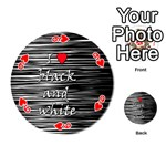 I love black and white 2 Playing Cards 54 (Round)  Front - Heart9