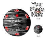 I love black and white 2 Playing Cards 54 (Round)  Front - HeartQ
