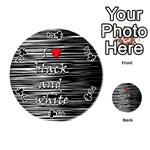 I love black and white 2 Playing Cards 54 (Round)  Front - ClubJ