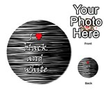 I love black and white 2 Playing Cards 54 (Round)  Back