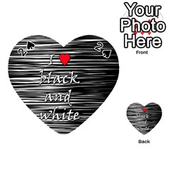 I Love Black And White 2 Playing Cards 54 (heart)  by Valentinaart