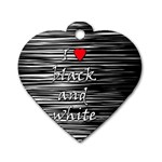 I love black and white 2 Dog Tag Heart (Two Sides) Back