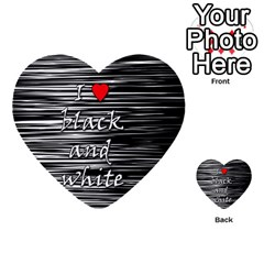 I Love Black And White 2 Multi Purpose Cards (heart)