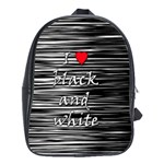 I love black and white 2 School Bags(Large)  Front