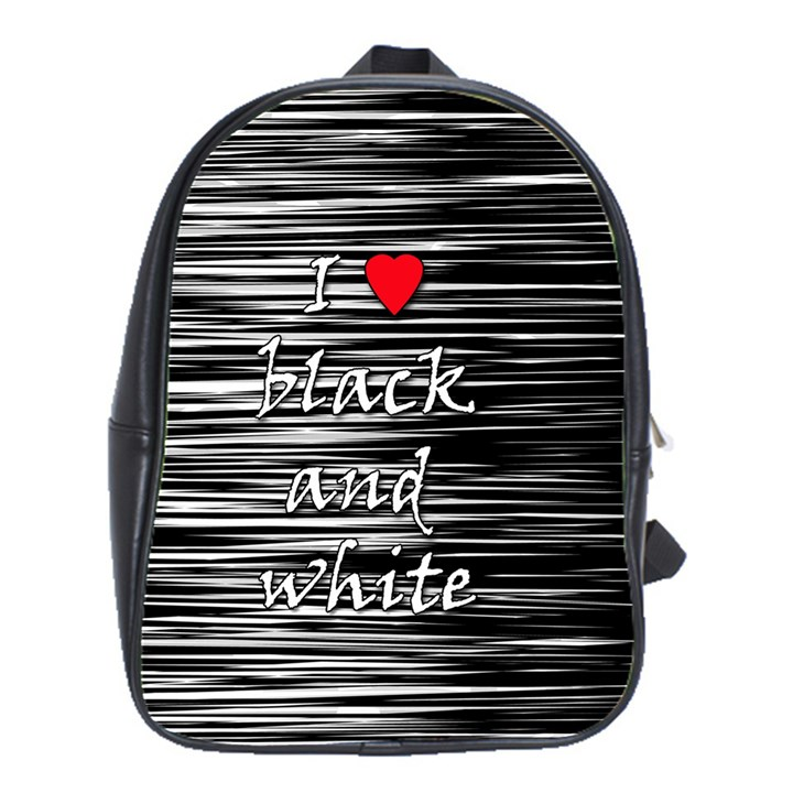 I love black and white 2 School Bags(Large)