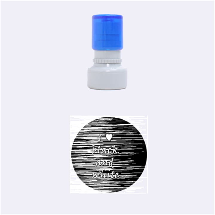 I love black and white 2 Rubber Round Stamps (Small)