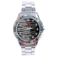 I Love Black And White 2 Stainless Steel Analogue Watch