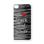 I love black and white 2 Apple iPhone 4 Case (White) Front