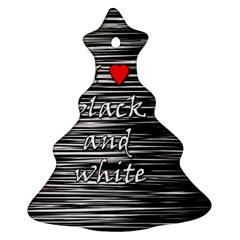 I Love Black And White 2 Ornament (christmas Tree)