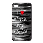 I love black and white 2 Apple iPhone 4/4s Seamless Case (Black) Front