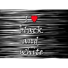 I love black and white 2 Birthday Cake 3D Greeting Card (7x5)