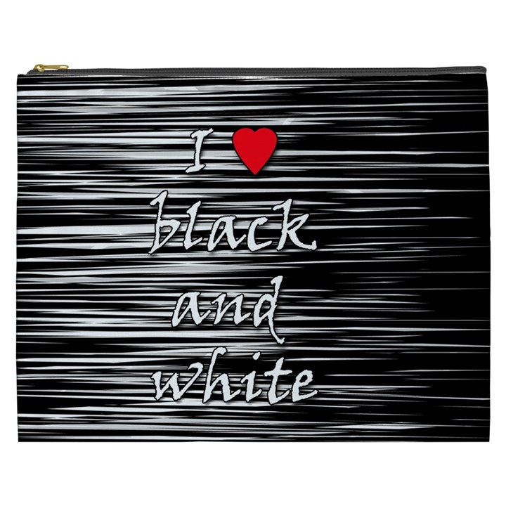 I love black and white 2 Cosmetic Bag (XXXL)