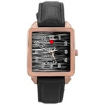 I love black and white 2 Rose Gold Leather Watch  Front