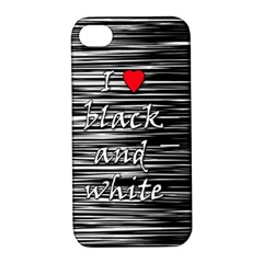 I Love Black And White 2 Apple Iphone 4/4s Hardshell Case With Stand