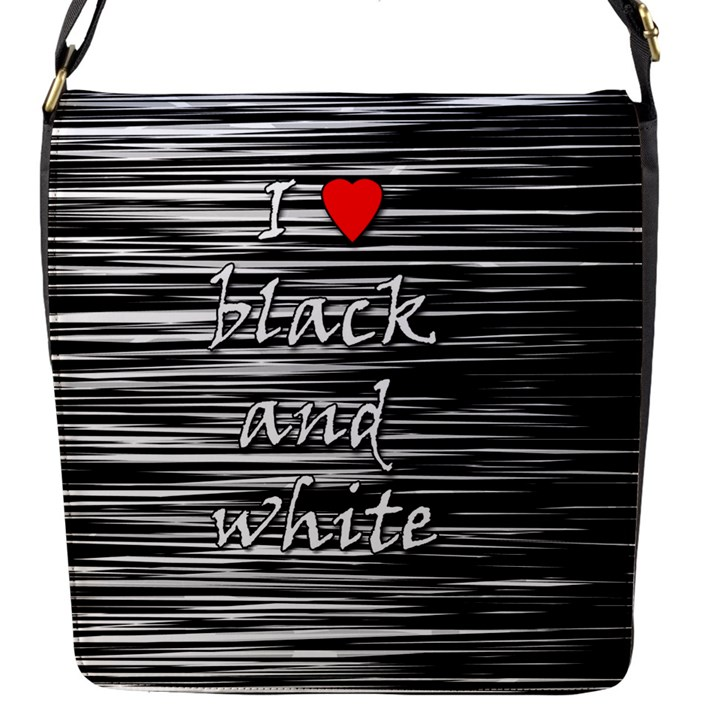 I love black and white 2 Flap Messenger Bag (S)
