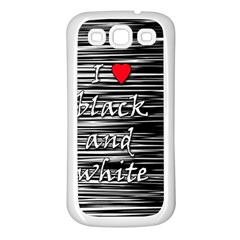 I Love Black And White 2 Samsung Galaxy S3 Back Case (white)