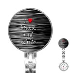 I love black and white 2 Stainless Steel Nurses Watch Front