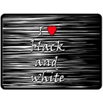 I love black and white 2 Double Sided Fleece Blanket (Large)  80 x60 Blanket Front
