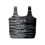 I love black and white 2 Full Print Recycle Bags (S)  Front