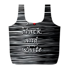 I love black and white 2 Full Print Recycle Bags (L)