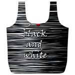 I love black and white 2 Full Print Recycle Bags (L)  Front