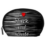 I love black and white 2 Accessory Pouches (Large)  Front
