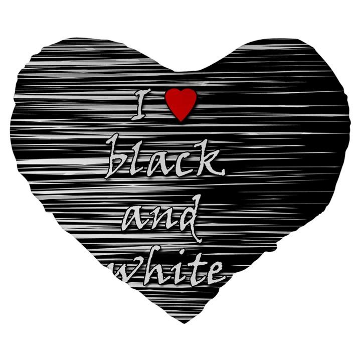 I love black and white 2 Large 19  Premium Flano Heart Shape Cushions