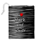 I love black and white 2 Drawstring Pouches (Extra Large) Back
