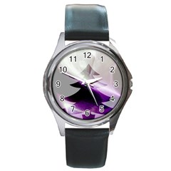 Purple Christmas Tree Round Metal Watch by yoursparklingshop