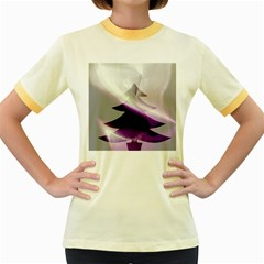 Purple Christmas Tree Women s Fitted Ringer T Shirts