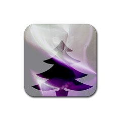 Purple Christmas Tree Rubber Square Coaster (4 Pack)  by yoursparklingshop
