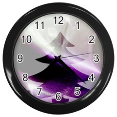 Purple Christmas Tree Wall Clocks (black) by yoursparklingshop