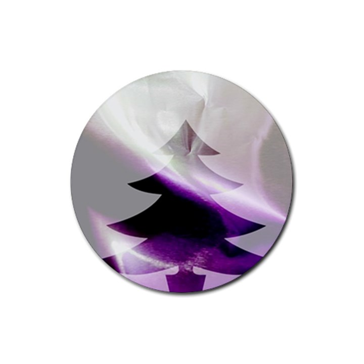 Purple Christmas Tree Rubber Coaster (Round)