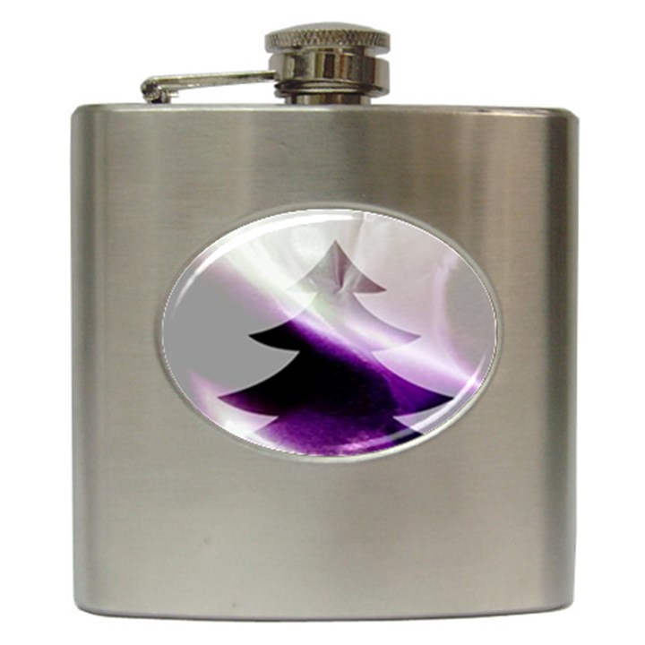Purple Christmas Tree Hip Flask (6 oz)