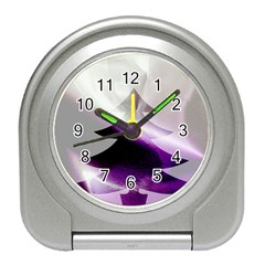 Purple Christmas Tree Travel Alarm Clocks by yoursparklingshop